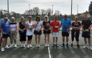 Members of Wells Tennis Club at the Easter Monday tournament