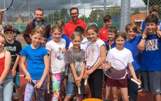 Juniors at Wells Tennis Club with Coach Kevin Durney and Captain Dave Mills