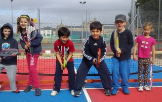 Mini Tennis players in ready positions