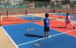 Mini Tennis players on a mini tennis court