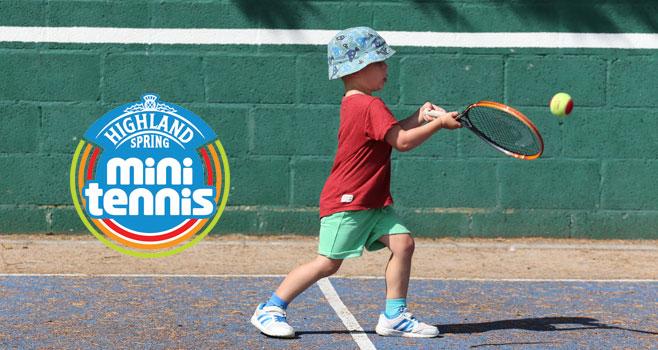 Mini Tennis Player with LTA mini tennis logo