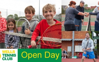Open Day,poster with junior players leaning on a net, adult players shaing hands and the club coach in a ready position