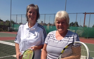 Linda Hall & Vicky Flicker representing Somerset over 50s