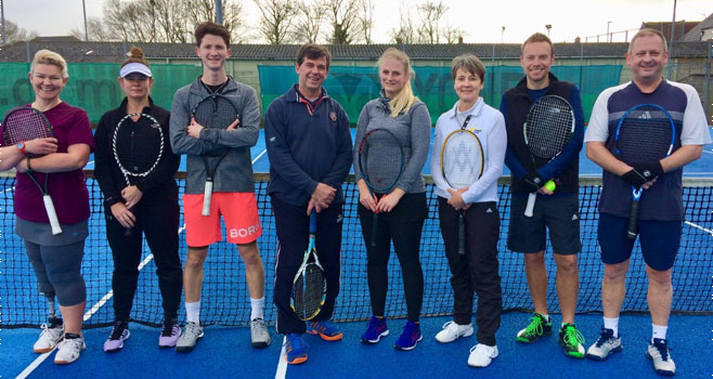 Players from Wells competing against each other in the winter league. From left to right, Julia, Marie, Jack, Dave C, Ginni, Caroline, Dave M and Neil