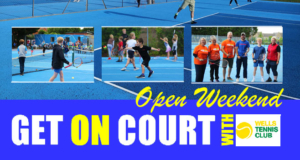 pictures of players on blue courts for an open day