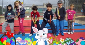Easter holiday tennis poster of children and eggs