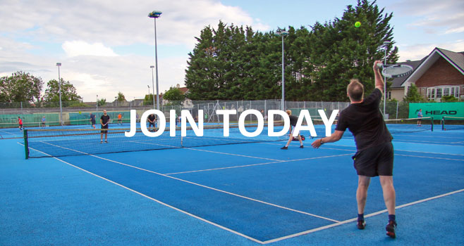 Membership Join Today, a picture of players on a blue court
