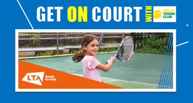 Tennis for kids course flyer, a girl playing on a court with the LTA logo